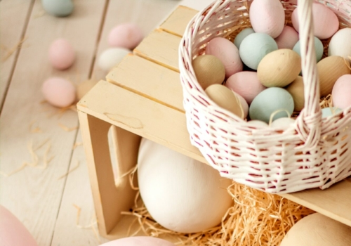 Picture of Easter eggs in a basket